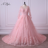 ADLN Long Sleeve Colored Wedding Dress Scoop A Line Arabic Muslim Bridal Gown Vestidos De Casamento