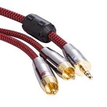 """1/8 """"мини-джек 3.5 мм до 2 RCA аудио кабель для ПК ТВ телефон автомобилей Aux Усилители домашние сабвуфер Динамик 3.5 rca кабель OFC 1 м 2 м 3 м 5 м 8 м"""