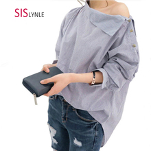 SISLYNLE 2017 New Spring Women Shirts Tops Fashion Ladies Striped Fold Sexy Over Shoulder Long Sleeve Plus Size Loose Blouses