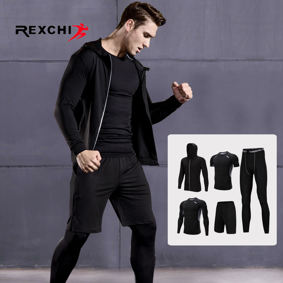 5 Pcs/Set Men Sports Suit Compression Underwear Outdoor Running Jogging Clothes T Shirt Pants Gym Fitness Workout Tights Costume men sports gym tights wrestling singlets shirt yoga unitard lingerie crossfit suit weightlifting bodysuit leotard surf swim wear