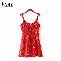 Summer Dress 2018 Women Ruffle Sexy Floral Beach Dress V Neck Spaghetti Straps Female Cute Chic