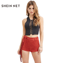 Sheinnet Hot Sexy Lace Up Short Tassel Slim Short Women Clothing Summer Drawstring Casual Cool Skinny Chic Sweet Female Short