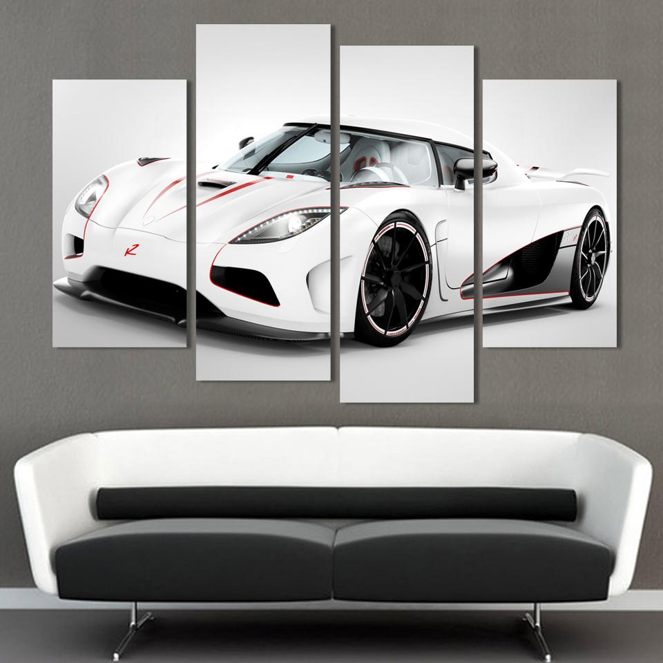 2016 4 pcs white sports car wall art painting home decoration living room canvas print painting