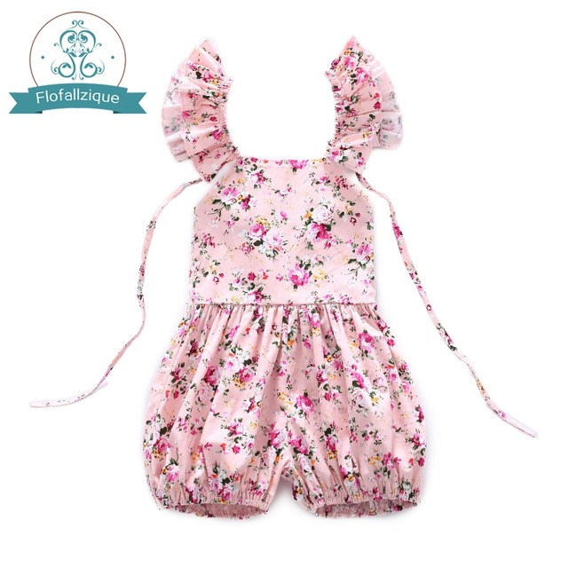 13b00921b 2018 Summer Toddle Girls Overalls Casual Floral Print Short Jumpsuit Baby  Girl Cute Ruffles Sleeveless Romper Outfits size 1-6y
