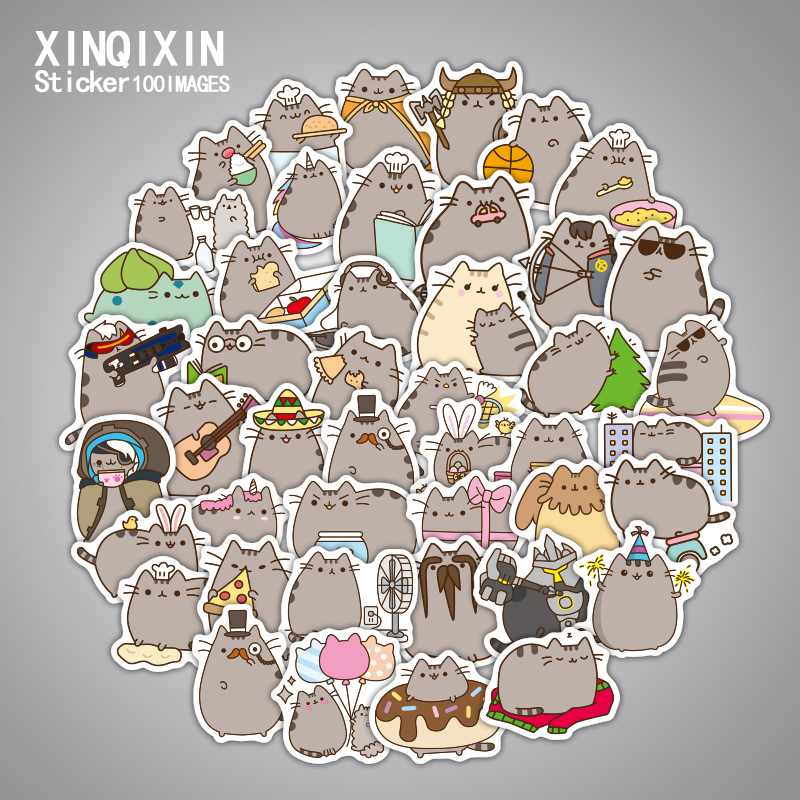 100pcs/lot Cartoon Pusheen the Cats sticker toys Pusheen waterproof computer glass backpack toy stickers gifts