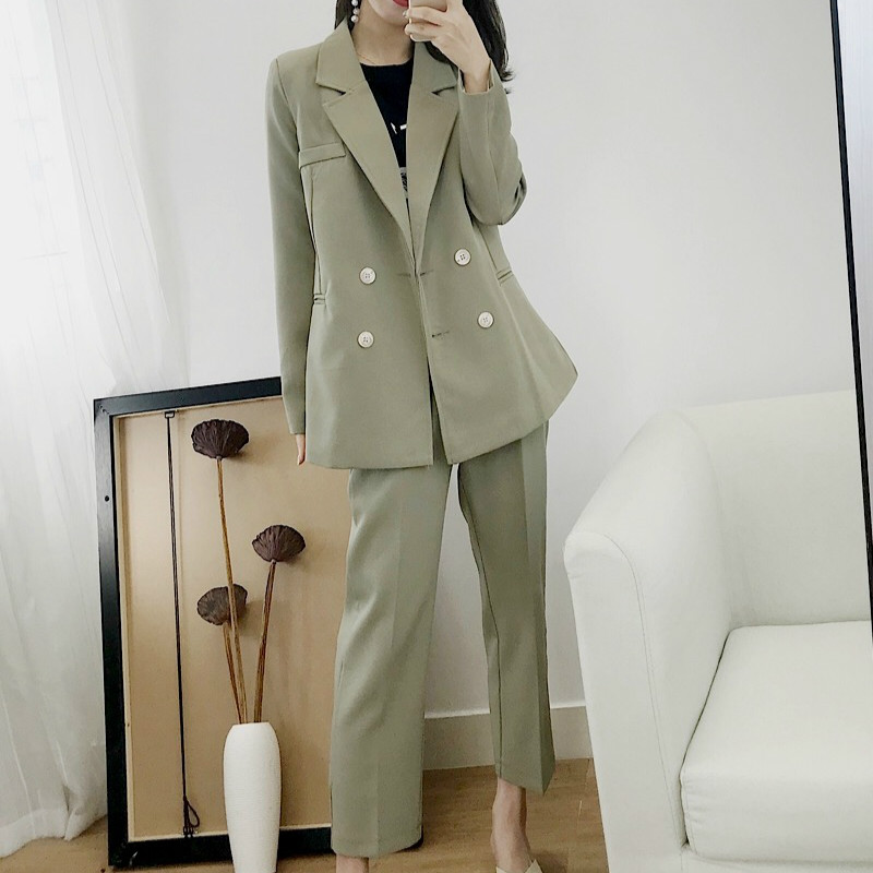 Women's Suit Suit Ladies Jacket 2019 New Autumn Korean Fashion Long Sleeve Professional Small Suit Wild Trousers Two-piece Suit