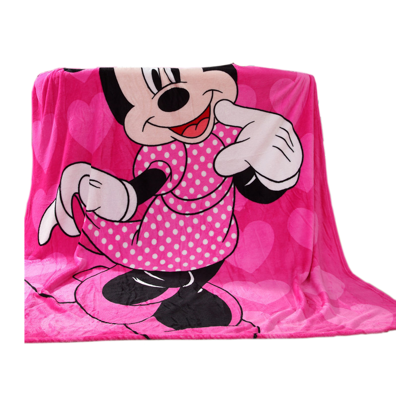 Disney Cartoon Pink Minnie Mouse Soft Flannel Blanket Throw For Girls Children On Bed Sofa Couch 150X200CM Kids Gift