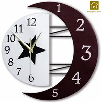 Large Office Digital Clock Wall DIY Modern Vintage Antique Wooden Wall Hanging Clock Decoration Maison Moderne Adornment WKP100