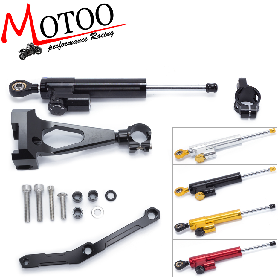 Motoo- Motorcycle Full set CNC Steering Damper Stabilizerlinear Linear Stabilizer Bracket kit For Yamaha MT09 MT-09 FZ-09 13-17 fxcnc aluminum motorcycle steering stabilizer damper mounting bracket support kit for yamaha fz1 fazer 2006 2015 2007 2008 09