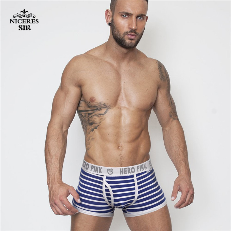 Image 2 - PINK HERO 5 pcs/lot Men Underwear Boxers Fashion Striped Cotton Mens Boxer Underwear Cheap Brand Clothing Men Underwear Shorts-in Boxers from Underwear & Sleepwears