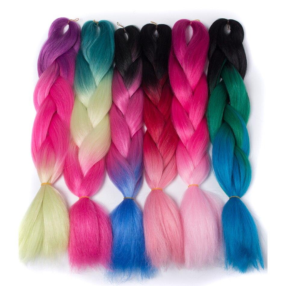Hair Braids 2019 Fashion Difei 24inch Synthetic Jumbo Braids Hair 100g/pack Kanekalon Hair Blonde Pink Blue Braiding Hair Extensions Crochet Hair Jumbo Braids