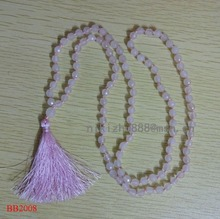 Hotsale fashion new design natural stones pink atage necklace ,necklace tassel and semi-precious women