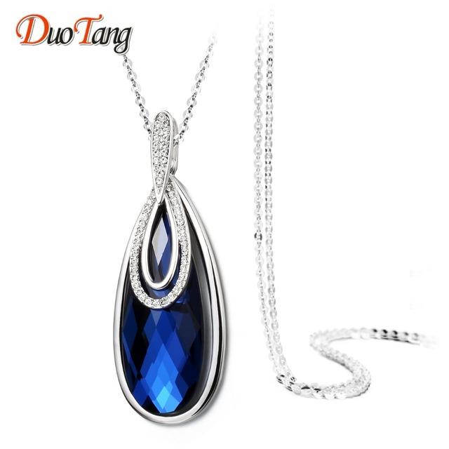 DuoTang Trendy Top Quality Prateado Gota de Água Pingente Colares Moda Azul Cinza Cristal Mulher Longo Colar de Presente Da Jóia