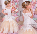 Mermaid Lace Árabe Vestidos Da Menina de Flor para Casamentos Champagne Tulle Bebé Vestidos Crianças Pageant Girl Vestido de Comunhão FL88