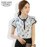 Sweet Style Spring 2017 New Fashion Summer Women Blouses Shirts Printed Flowers Chiffon Short Sleeve Shirts