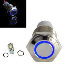 4Pcs 16mm Blue LED Angel Eye Push Button Metal 12V ON-OFF Switch  For Car Motor цена