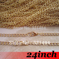 100pcs 3mm 24inch Gold Plated Metal Tone Curb chain necklace link connector DIY jewelry findings accessories