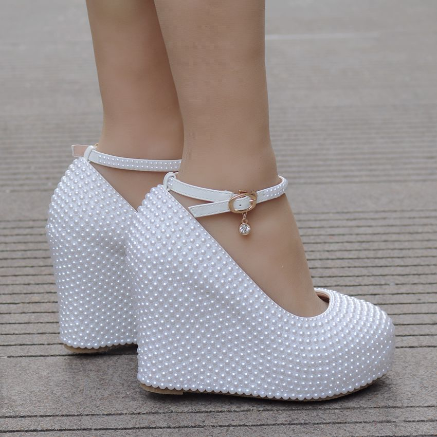 Beige Perla Blanco Para Tamaño Gran Pendiente Zapatos De Boda Pendiente de wUf4ZqSx7