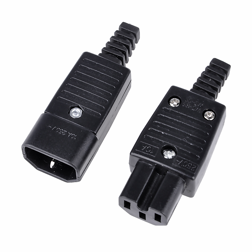 C13 To C14 Heavy Duty Rewireable IEC C13 Female Inline Socket Plug 10A 250V New