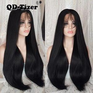Image 2 - QD Tizer Lange Yaki Haar Schwarz Farbe Hitze Beständig Synthetische Spitze Front Perücken mit Baby Haar Licht Yaki Haar perücken für Frauen
