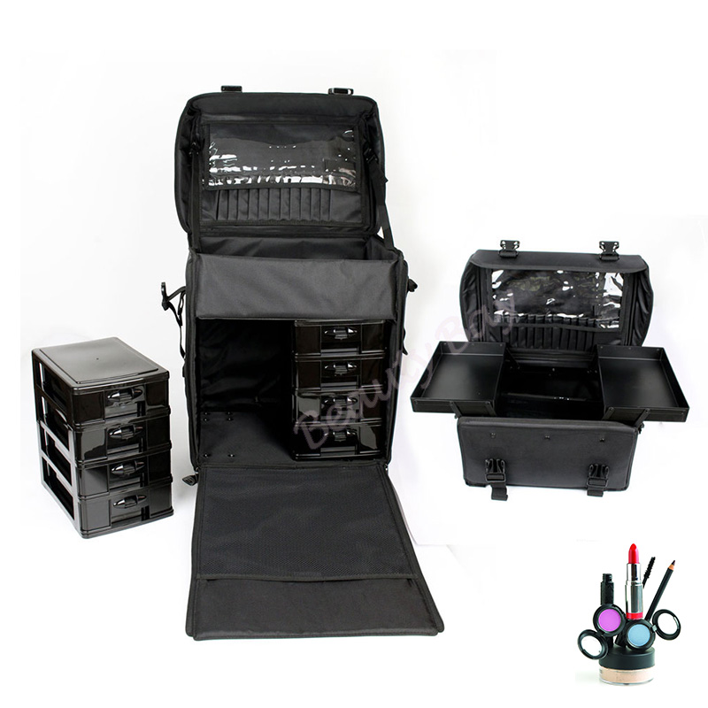 4 Wheels Professional Nylon Hair-dressing Makeup Tool Case, 2pcs In 1 Set Nylon Beauty Trolley Case With Drawers