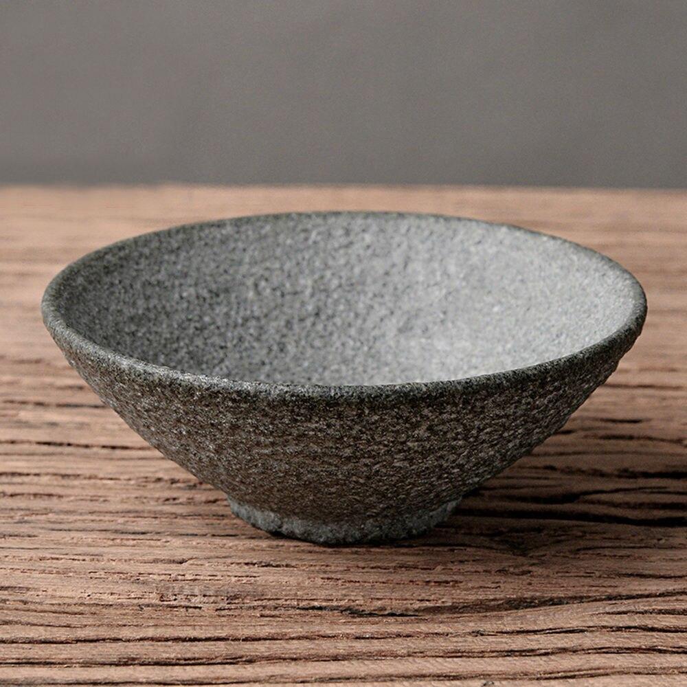 Tasse de cérémonie de thé Gongfu en pierre Granodiorite à large bord faite à la main 60 ml