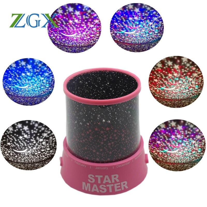 СВЕТОДИОДНЫЙ Ночник проектор звездного неба Звезда Луна мастер Для детей для сна Романтический красочные USB LED лампа проектора