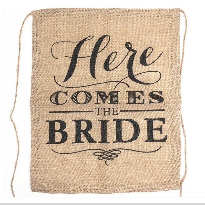 빈티지 여기에 BrideJute 플래그 삼 베 배너 소박한 웨딩 장식 온다