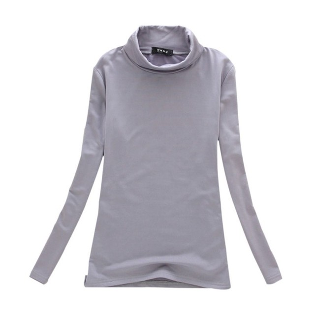 New 2018 Autumn Winter T Shirt Women Tops Long Sleeve Tees Turtleneck Solid Poleras Mujer Casual Basic T-shirt Bottoming Tshirts