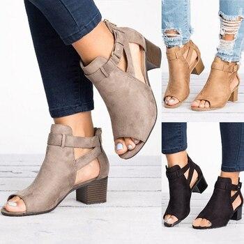 45c982ba Tamaño más mujer PWedge hebillas de boca de pescado plataforma sandalias de  gladiador zapatos de tacón alto zapatos de verano de las mujeres Peep Toe  ...