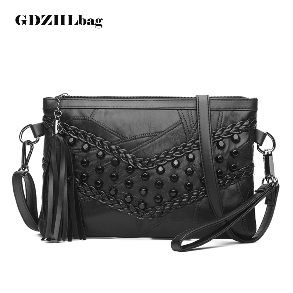 GDZHLbag Women Leather Handbags Rivet Stud Crossbody Bags Female Women Messenger Bags Purses and Shoulder Travel Bag B084