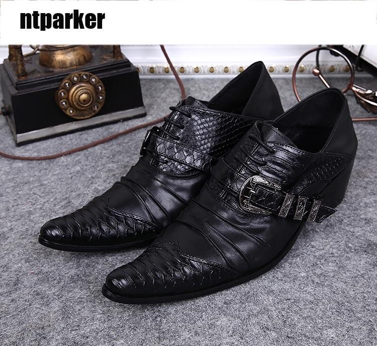 cec3a6bf Ntparker/Элитный бренд человека Обувь модные деловые костюмы кожаные туфли  острым плоскостопие низкой Обувь человек EU38-46