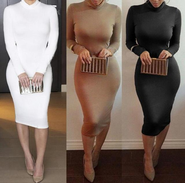 Women Sexy Dress Tunic Maxi Bodycon Female Long Sleeves Spring Autumn Party Dresses Elegant Lady Nightclub Clothes Pure Colors