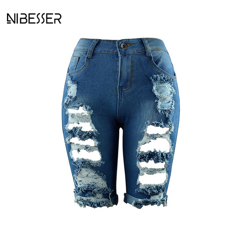 NIBESSER Hole Ripped Jean Shorts Woman High Waist  Knee Length Pockets Washed Casual Denim Shorts Summer Jeans Pantalon Femme nibesser hole ripped jean shorts woman high waist knee length pockets washed casual denim shorts summer jeans pantalon femme