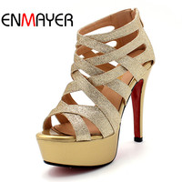 ENMAYER 2014 New Arrivals Fashion Sexy High Heels Pumps For Women PU Leather Sandals Peep Toe