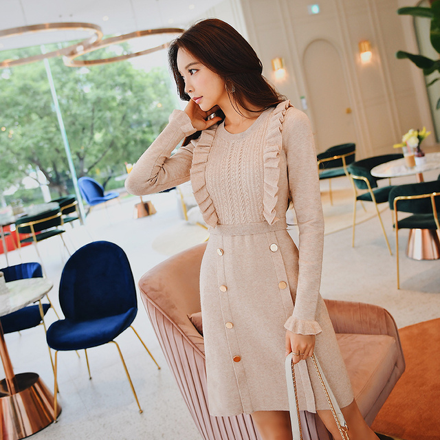 Dabuwawa Women Thick Ruffles Elegant Midi Dresses Long Sleeve A Line Slim-fit Vintage Party Knitted Dress for Girls D18CDR022