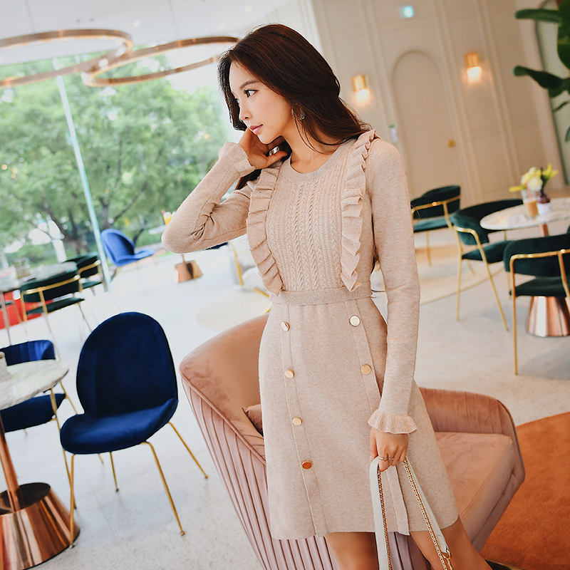 Dabuwawa Women Winter Ruffles Elegant Midi Dresses Long Sleeve A Line Slim fit Vintage Party Knitted Dress for Female Girl