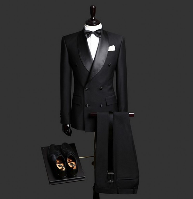 Double Breasted Groomsmen Shawl Satin Lapel Groom Tuxedos Black Men Suits Wedding Best Man Jacket Pants