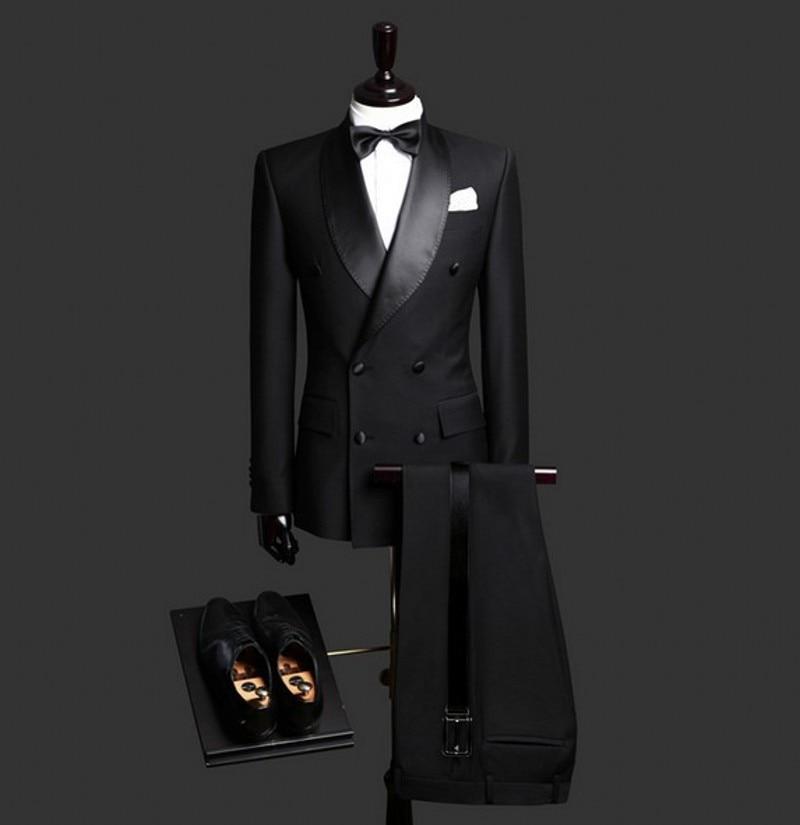 Double-Breasted Groomsmen Shawl Satin Lapel Groom Tuxedos Black Men Suits Wedding Best Man (Jacket+Pants+Tie+Hankerchief) B917