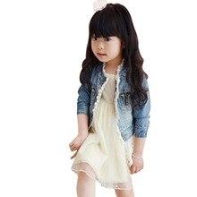 Baby Girls Jean Jackets Kids Lace Coat Long Sleeve Button Denim Jackets For Girls 2-7Y