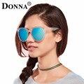 Donna de gran tamaño hd lente gafas de sol polarizadas mujeres ronda cat eye glasses gafas de sol espejo gafas de sol de lujo de oro rosa señora d36