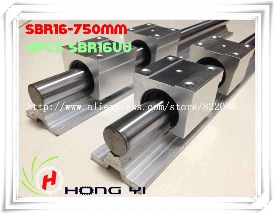 ФОТО 2 pcs SBR16 L = 750mm Linear Rails +4 pcs SBR16UU straight-line motion block for SFU1605 Ball screw (can be cut any length)