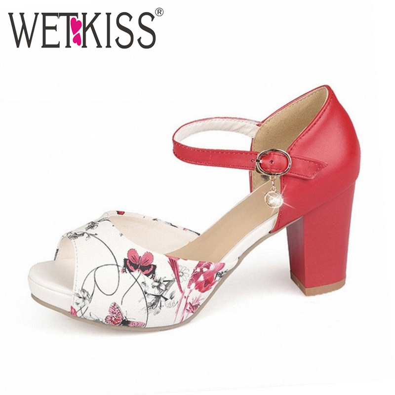 WETKISS Elegant Women Sandals Shoes High Heels Printing Leatherette Open Toe Fashion Female Summer Shoes Ankle