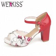Wetkiss elegante frauen sandalen schuhe high heels printing kunstleder offene spitze mode weibliche sommer schuhe knöchelriemen frauen schuhe
