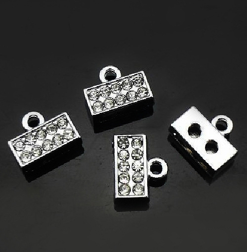 50pcs 8mm Connector Charms Head End Clasp Internal Dia 8mm Fit 8mm band Strips DIY Charms Fittings Accessories