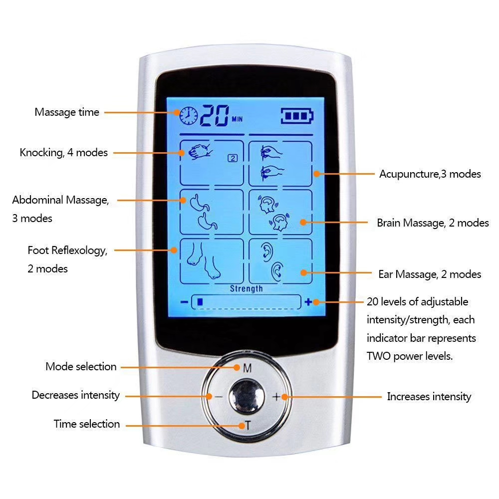 2 Channels TENS Device Digital EMS Massager Electrode Muscle Stimulator Body Healthcare Physical Therapy Machine 16modes