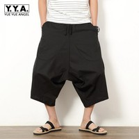 Summer Men S Japanese Samurai Boho Summer Harem Shorts Hakama Linen Cotton Pants 5 Colors Loose