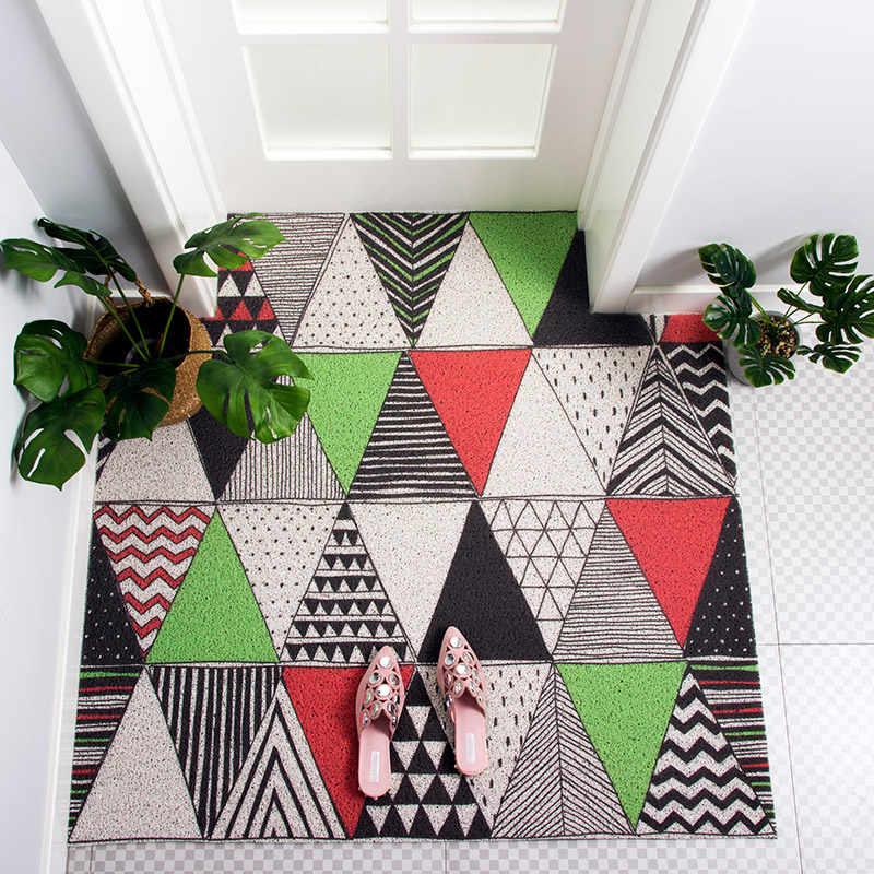 Nordic styl DIY geometryczne przewód pcv pętli wpis mat łazienka wodoodporna mat drzwi drzwi odkurzanie dywan antypoślizgowe wykonane na zamówienie dywan