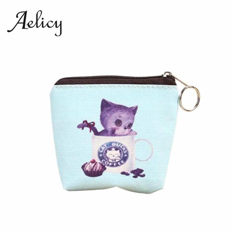 Aelicy Nette Katze Geldbörse Leder Cartoon Gedruckt Mini Zip Clutch Tasche Brieftasche Schlüssel Fall Tasche Lagerung Tasche Mit Keychain0 Kunden Zuerst