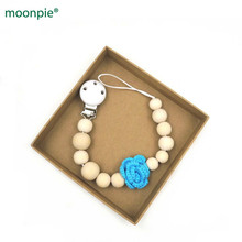 3 pcs Natural wooden soother clip,16mm wood beads handmade crochet flower dummy chain teether, pacifier clip baby gift set NT181